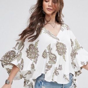 Free People Maui Wowie Paisley Printed Blouse